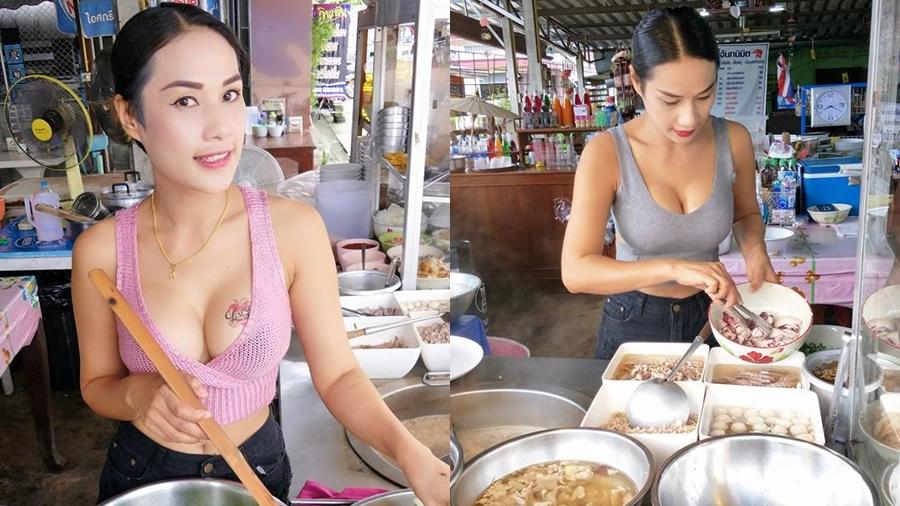 【※売上アップ】アジアの屋台の売り子がエロすぎると話題に。このアダルト商法は卑怯やろwwwwwwwwwwwww(画像)・3枚目